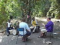 african drumming lesson in the bush